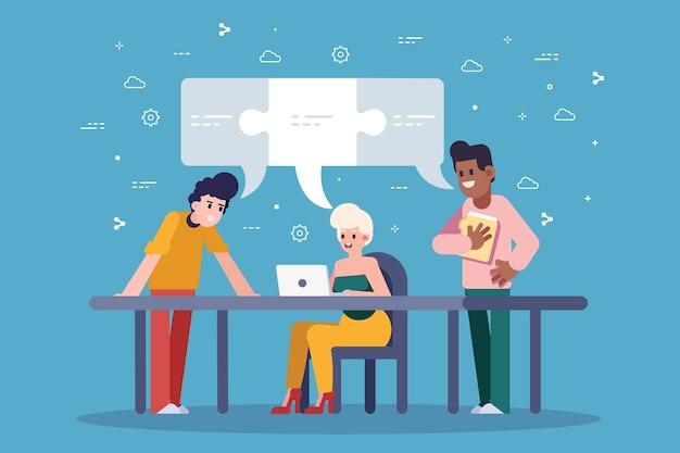 Работа в команде людей, создающих идеи в офисе