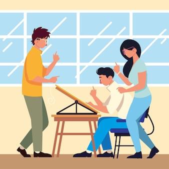 チームワークの人々のデスクミーティングの作業