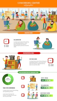 Teamwork people infographic concept with freelancers