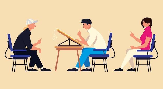 オフィスの椅子に座っているチームワークの人々の作業イラスト