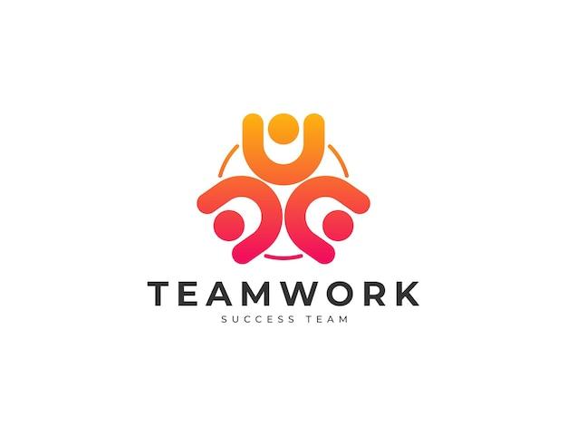 Коллективная работа людей вместе, сообщество или дизайн логотипа единства