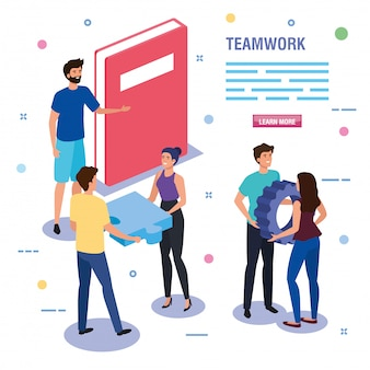 Teamwork people with book and icons template