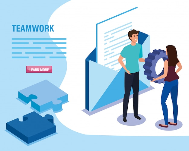 Teamwork people with envelope and puzzle pieces template