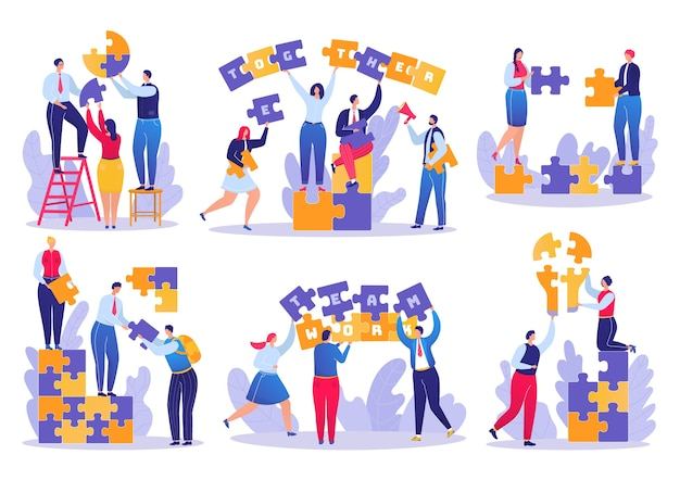 Teamwork puzzle in business set of  illustrations. businesspeople joining puzzle pieces. successful strategy in team. cooperation and corporate solutions, creative partnership.