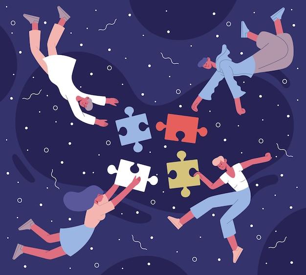 Коллективная работа головоломки, собирая иллюстрации