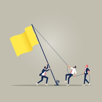 Teamwork stand up flag cooperation and business teamwork concept