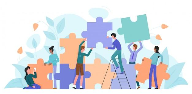 チームワーク、スタートアップキャラフラットベクトルイラスト
