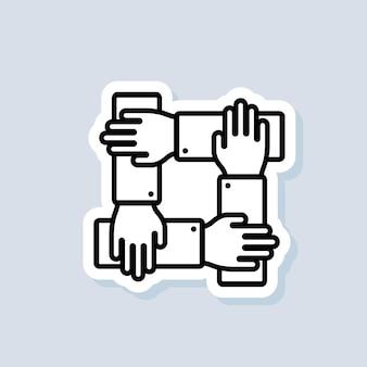 팀워크 스티커입니다. 커뮤니티, 비즈니스 파트너십 로고. 손목을 위해 함께 손을 잡습니다. 격리 된 배경에 벡터입니다. eps 10.
