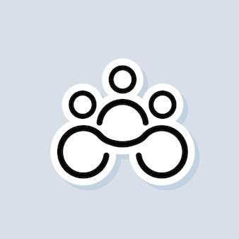 Наклейка для совместной работы. сообщество, логотип делового партнерства. логотип работы в команде. вектор на изолированном фоне. eps 10.