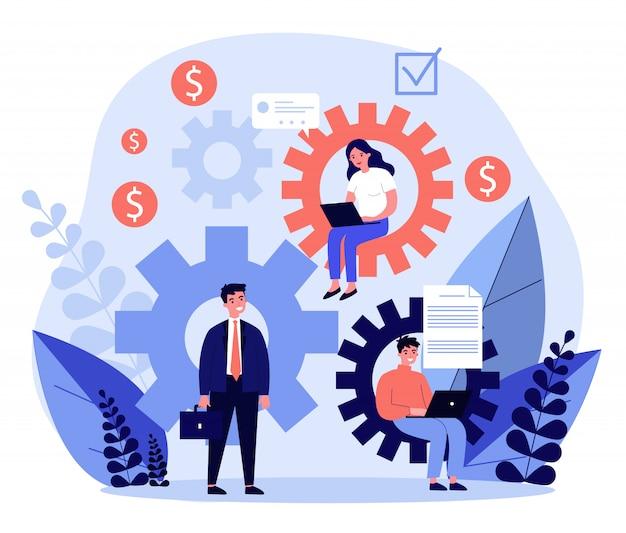 Teamwork strategy for office   illustration