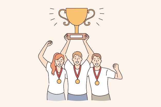 팀워크, 성공, 협업 및 우승 개념. 목에 메달을 들고 손 벡터 삽화에 황금 트로피를 들고 웃고 있는 젊은 행복한 사람들 팀