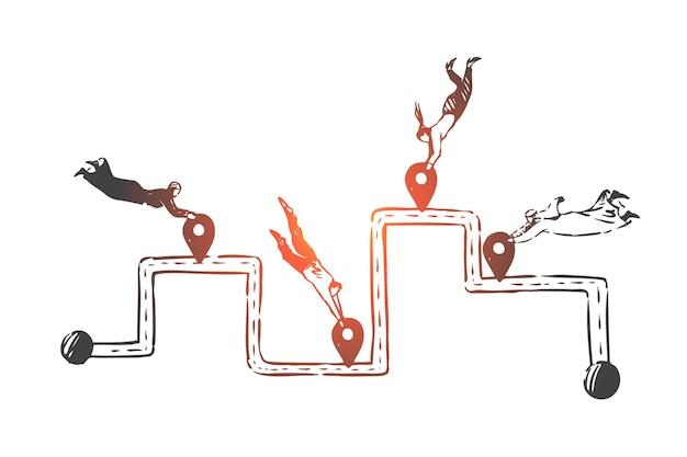 Работа в команде, успех, коворкинг, партнерство, эскиз концепции глобализации. деловые люди и арабы летают и держат геотеги в разных местах. рука нарисованные изолированные векторные иллюстрации