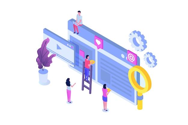 チームワーク成功等尺性。建設計画。インターネット上でビジネスを構築する。