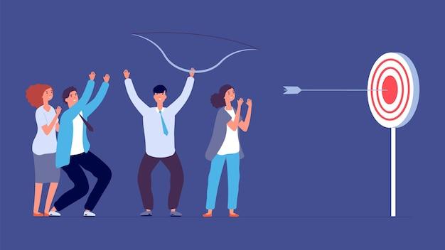 Метафора успеха совместной работы. целевая цель, фокус и прогресс. бизнес-стрельба из лука, стрелка попала в фокус. плоский счастливый запуск вектор концепция команды. целевая цель, иллюстрация прогресса задачи совместной работы