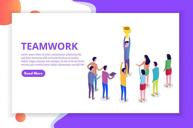 팀워크, 성공, 승리 팀 개념 아이소 메트릭. 삽화.