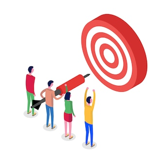 Teamwork, successful goal isometric concept. target and arrow.  illustration.