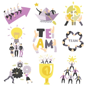 Teamwork symbols set