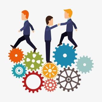 Teamwork team persons gears