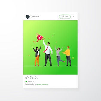 Teamwork and team success concept. best employees winning cup, celebrating victory. flat vector illustration for leadership and career achievement topics