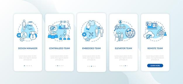 コンセプトが設定されたモバイルアプリページ画面のオンボーディングチームワークタイプ。ビジネスパートナー。割り当て委任のチュートリアル5ステップのグラフィックの説明。 rgbカラーイラストとuiベクトルテンプレート