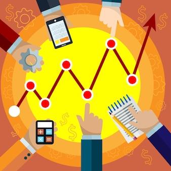 チームワークベクトルクリエイティブフラットコンセプトイラスト、会議、計算、グラフ、ポスターやバナー用