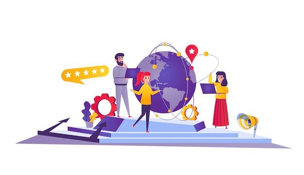 Teamwork web concept in cartoon style
