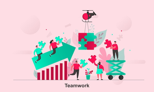 Teamwork web concept design in flat style with tiny people characters