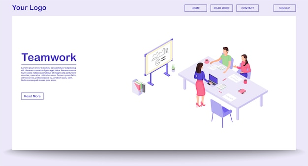 Teamwork webpage vector template with isometric illustration, landing page
