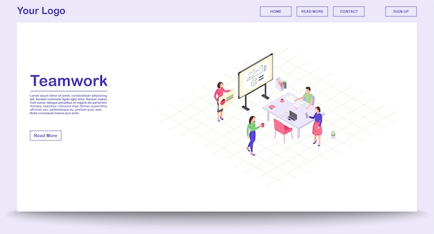 Teamwork webpage vector template with isometric illustration