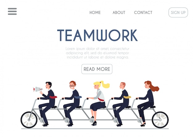 Teamwork website banner  cartoon business people riding tandem bike together.