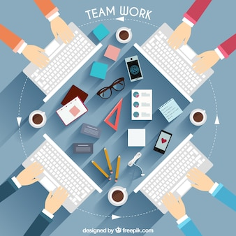 Teamwork with keyboard illustration