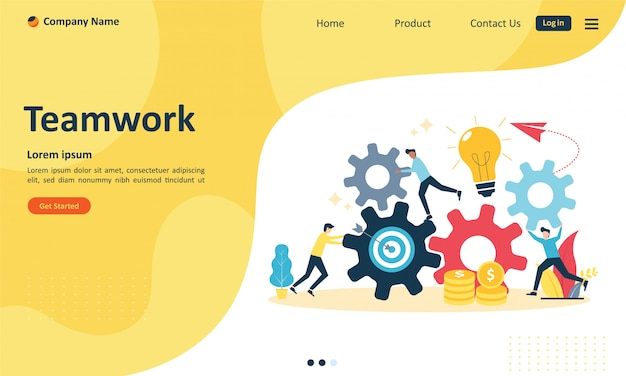 Teamwork with people connecting gear for web landing page