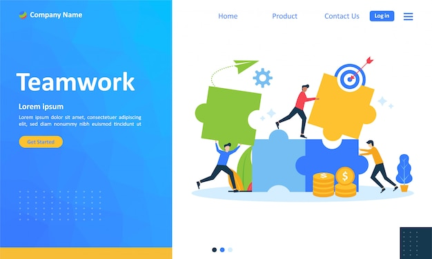 Teamwork with people connecting puzzle for web landing page