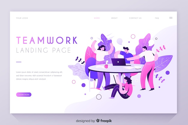 Teamwork with people at the table landing page