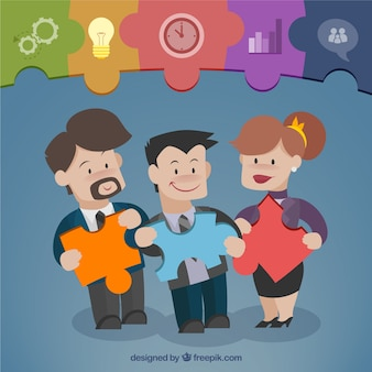 Teamwork with pieces of puzzle Premium Vector