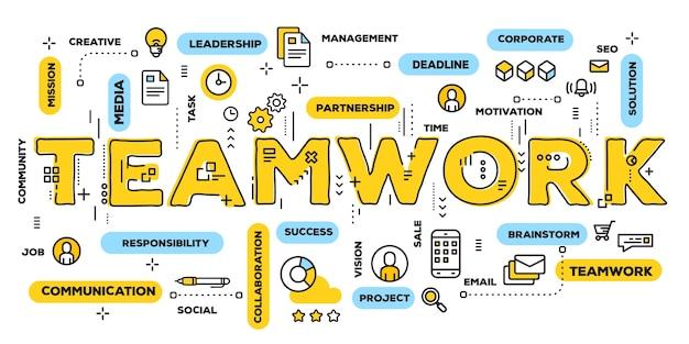 チームワーク、ラインアイコンとタグクラウドを備えた黄色の単語レタリングタイポグラフィ