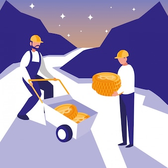 Teamworkers crypto mining bitcoins