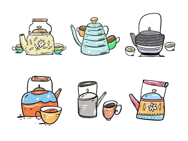 ティーポットとコーヒーポットセット手描き白い背景で隔離。漫画のスタイル。