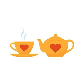 Чайник и чашка. желтый чайный сервиз с красными сердечками. плоский дизайн. векторная иллюстрация
