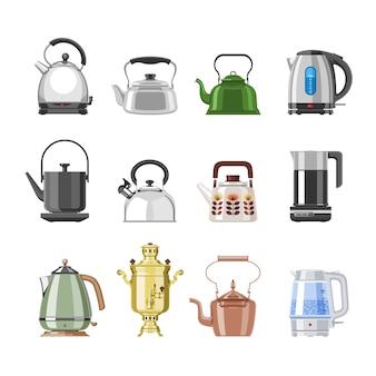 주전자와 주전자 주전자 또는 사모바르는 부엌 그림 주방 세트 흰색 배경에 고립 된 전기 보일러에 티타임과 삶은 커피 음료에 차를 마시는 프리미엄 벡터