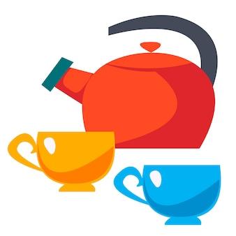ティーポットと2つのカップ。フラットスタイルの楽しみのベクトルイラスト