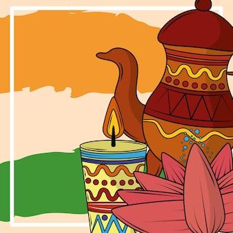 찻주전자 촛불 인도 국기