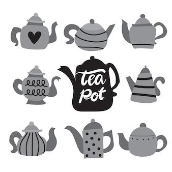 Teapot collection vector design