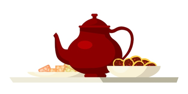 Teapot and cookies illustration, red vintage kettle with sweets in plates isolated on white background.