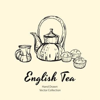 Чайник, чашка и кексы черная линия рисованной иллюстрации в старом стиле