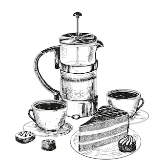 Teapot, cup and chocolate cake drawing