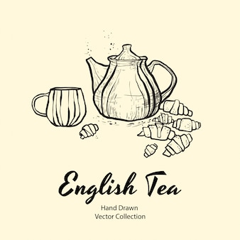 Teapot, cup and croissants black line hand drawn illustration in old style