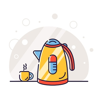 Teapot and cup illustration background