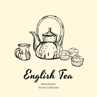 Teapot, cup and muffins black line hand drawn illustration in old style Premium Vector