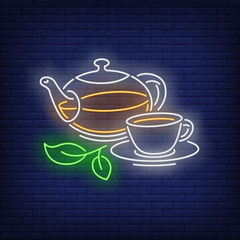 Teapot and cup in neon style